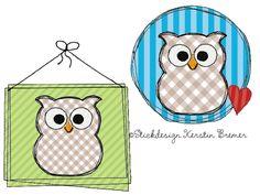 Eulen Doodle Stickdateien Setr. Doodle owl appliqué machine embroidery designs.  #sticken #eulenliebe