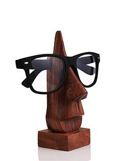 PMK Vatertags Geschenk Klassische Hand geschnitzte Sheesham Holz-Nasen-geformter Brille Brillenhalter, Brillen-Halter.