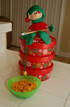Elf Fun! Christopher Pop-In-Kins goes fishing for goldfish crackers. (an elf favorite) www.elffun.com