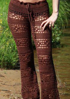 Pichilemu Low Waist Hand Crochet Long Pants Beach Resort