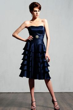 Strapless A-line fashion satin bridesmaid dress