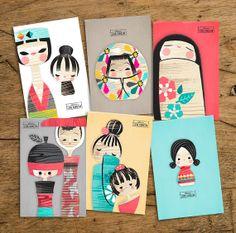 Kokeshi set of 6 postcards