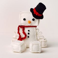 Christmas Snowman Plush Robot with Top Hat and Red by GinnyPenny