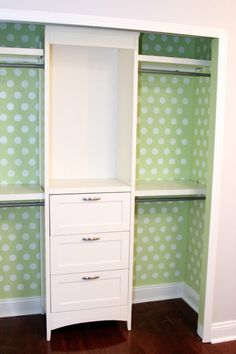 Try wallpapering a closet for character and to hide scuffed walls like the Lil House that Could. Closet Organizing Hacks and Tips. Home Improvement and Spring Cleaning Ideas for your Nest. Ideas on Frugal Coupon Living.