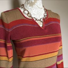 SIGRID OLSEN Knit Top SMALL Multicolor knit top by Sigrid Olsen. Beautiful sheen to the fine knit fabric - rich colors. No fading whatsoever. Red, purple, gold, yellow, orange / peach, stripes. Long sleeve. Excellent condition - only worn a couple times. Ladies size small, but fits up to a medium. Sigrid Olsen Sweaters