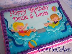 Water slide cake, but instead of two girls, one girl and baby boy. And replace a beach ball with a rubber duckie.