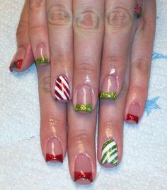 Candy Cain nails
