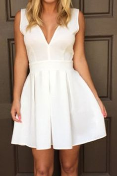 Sexy Plunging Neck Solid Color Backless Sleeveless Dress For Women
