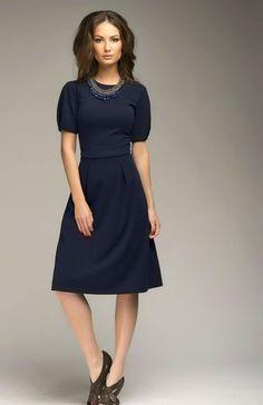 SaleNavy Blue Dress Knee Length simple Jersey by FashionDress8