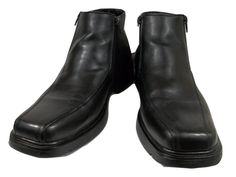 Skechers Shoes Solid Black Leather Zipper Ankle Boots Mens Size 12 M #Skechers #AnkleBoots