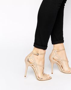 Karen Millen Snake Effect Strappy Heeled Sandals