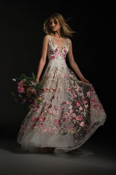 How stunning is this embroidered bridal gown?!