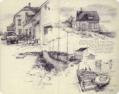 Pat Perry is an artist and illustrator born in the Detroit area and now calls Grand Rapids, Michigan home. Illustration Sketches, Drawing Sketches, Art Drawings, Artist Sketchbook, Sketchbook Pages, Sketchbook Ideas, Pat Perry, Landscape Drawings, Amazing Drawings