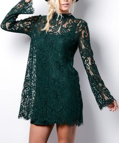 Dark Green Lace-Accent Bell-Sleeve Dress