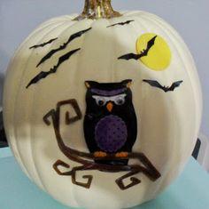 Decoupage Owl Pumpkin Owl Pumpkin, Frog Crafts, Favorite Holiday, Halloween, Pumpkin Carving, Fun Things, Pumpkins, Owls, Amanda