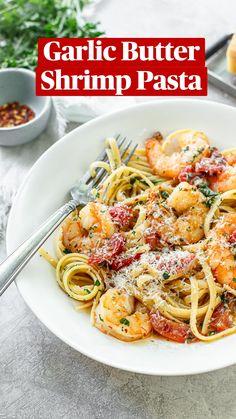 Shrimp Recipes For Dinner, Shrimp Recipes Easy, Seafood Recipes, Cooking Recipes, Healthy Recipes, Garlic Shrimp Recipes, Simple Pasta Recipes, Sauteed Shrimp Recipe, Light Pasta Recipes