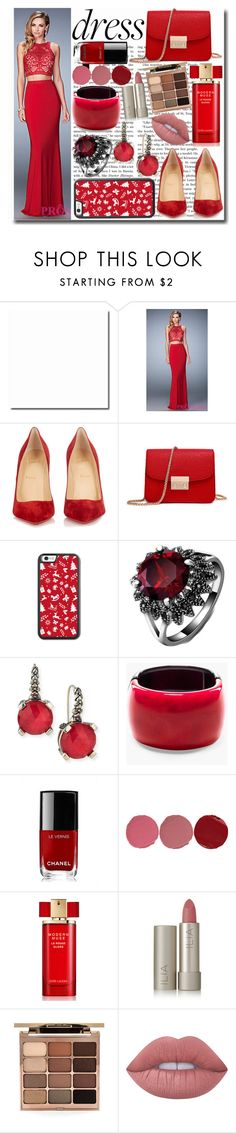 """""""The Perfect Christmas Dress"""" by emmy-124fashions ❤ liked on Polyvore featuring Christian Louboutin, Stephen Dweck, Chico's, Chanel, Charlotte Tilbury, Estée Lauder, Ilia, Stila, Lime Crime and Christmas"""