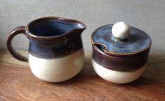 Handmade Rustic Brown & Blue Ceramic Cream & Sugar Serving Set by Kismet…