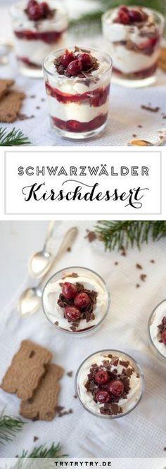Christmas black forest cherry dessert in glass - Rezepte - Desserts In A Glass, Cherry Desserts, Cute Desserts, Cookie Desserts, Winter Desserts, Christmas Desserts, Christmas Recipes, Easy Sweets, Cupcakes