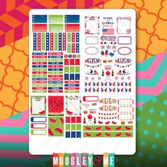 3 Sheets of July Monthly/Weekly Planner Stickers for your Vertical Erin Condren Life Planner, or any planner! by MoogleyandMe on Etsy