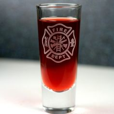 Firefighter Maltese Cross etched Shooter Shot by GlassBlastedArt, $7.00
