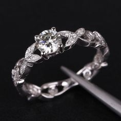 Floral Shank Art Deco Moissanite & Diamond Engagement Ring in 14K White Gold - 5.0-6.5mm Round Moissanite Ring, Wedding Ring, Promise Ring