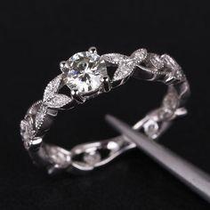 Floral Shank Art Deco Moissanite & Diamond Engagement Ring in 14K White Gold - 5.0-6.5mm Round Moissanite Ring, Wedding Ring, Promise Ring