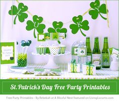 """FREE Party Printables, """"How To"""" DIY, Crafts, Party Ideas, Recipes and Creative Ideas. www.LivingLocurto.com             St. Patricks Day Free Party Printables"""
