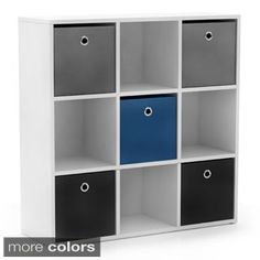Simple Living 'Jolie' White Bookcase with Five Fabric Bins - 16133011 - Overstock Shopping - Great Deals on Simple Living Kids' Storage