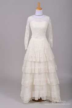 1950 Tulle Lace Vintage Wedding Gown