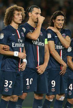 David Luiz, Zlatan y Cavani en el PSG