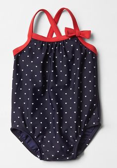 New Baby Girl Gifts:  Infant Americana Heart Swim One-Piece Bathing Suit @ Baby Gap