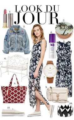 Look Du Jour: Achtung, Punkte! Black and white printed midi dress+nude slip-ons+nude shoulder bag+denim jacket white stickers. Summer outfit 2016