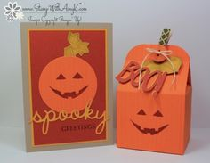handmade Halloween card and treat box from  Stamp With Amy K ... luv the nearly monochromatic colors ... pumpkin happy faces ...