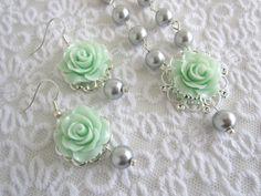 Mint earring Mint Flower Earrings Bridesmaid gift Rose earrings Dangle earrings Gray Mint earrings W Mint Earrings, Beaded Earrings, Flower Earrings, Seed Bead Jewelry, Jewelry Art, Beaded Jewelry, Baby Jewelry, Wedding Jewelry, Biscuit