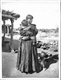 arizona indians history   :Pima Indian mother, Louisa Breckenridge, and her baby, Pima, Arizona ...