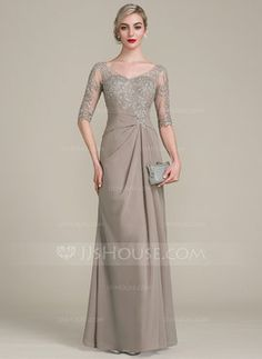A-Line/Princess V-neck Floor-Length Chiffon Lace Mother of the Bride Dress With Ruffle - Mother of the Bride Dresses - JJsHouse Mother Of The Bride Gown, Mother Of Groom Dresses, Mothers Dresses, Chiffon Evening Dresses, Cheap Evening Dresses, Chiffon Dress, Summer Dresses, Vestidos Mob, Vestidos Fashion