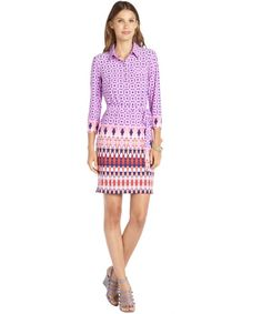 ALI RO Lilac Printed Stretch Woven 3/4 Sleeve Shirt Dress #PrintDress
