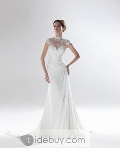 Gorgeous Sheath/Column High-Neck Short-Sleeve Floor-Length Chapel Appliques Wedding Dresses