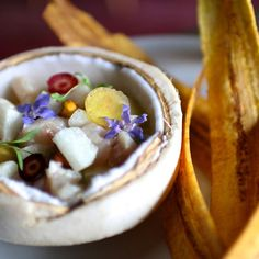 Ginger, jalapeño oil, and plantain chips makes this hearty ceviche suitable for all seasons.