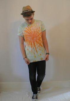 Unique Tye Dye T-Shirt Pastel Rainbow Mens L