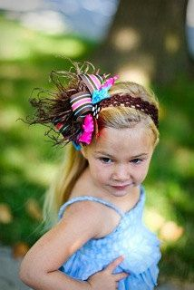 Brown Turquoise Shocking Pink and Lime Over The Top Funky Birthday Boutique Hair Bow on matching Headband
