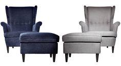 Strandmon chair. Blue velvet or gray linen. Funky reading chair. Do i dare?