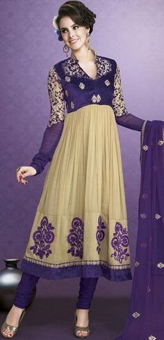 $95.11 Brown Faux Georgette Embroidery Anarkali Salwar Suit 24388
