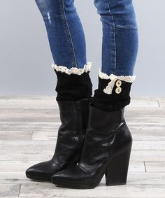 Love this warm AND stylish look! Look at this #zulilyfind! Black Lace-Trim Boot Cuffs by Coco and Main #zulilyfinds
