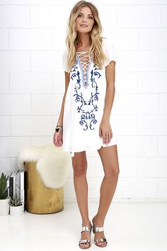 63f14e5501 Down in Kokomo Ivory Embroidered Shift Dress