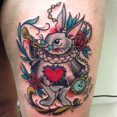 White rabbit tattoo Alice in wonderland Biancaneve tattooer Milano