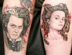 His n' hers: One couple took their shared love for Tim Burton regulars Jonny Depp and Helena Bonham Carter to new levels Black Ink Tattoos, Cute Tattoos, Beautiful Tattoos, Body Art Tattoos, Movie Tattoos, Rocky Horror, Tattoo Now, Arm Tattoo, Jack Skellington