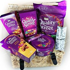 New Quality Street Christmas Wicker Hamper - Packed full of Quality Street items, Large pouch, Small Tin, Honeycomb Bar, Original, Toffee & Fudge and Fruit Cremes Cartons - By Moreton Gifts