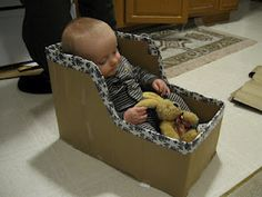 Baby Play Chair, made from a diaper box. Easy and cheap alternative to the Bumbo!!